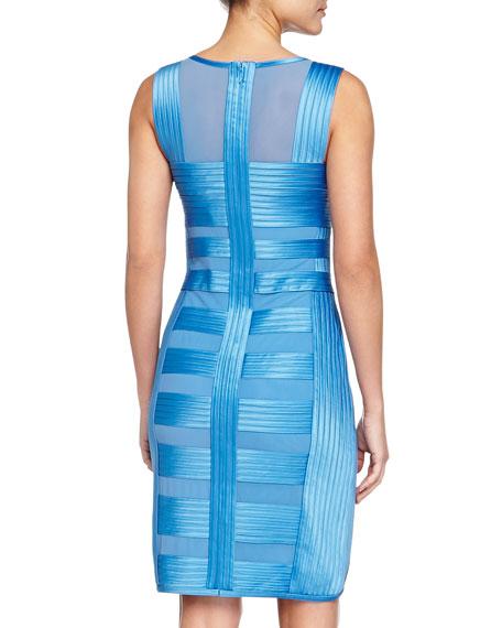 Sheer-Panel Charmeuse Dress, Light Blue