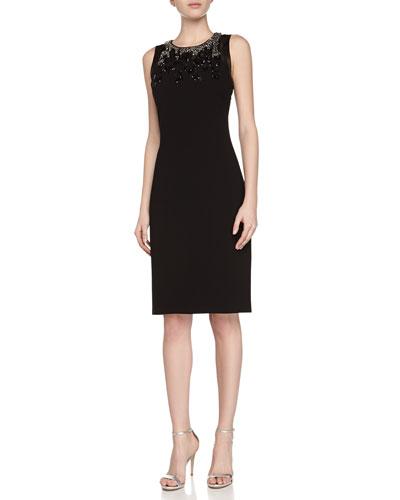 Sleeveless Beaded Halter Sheath Dress, Black