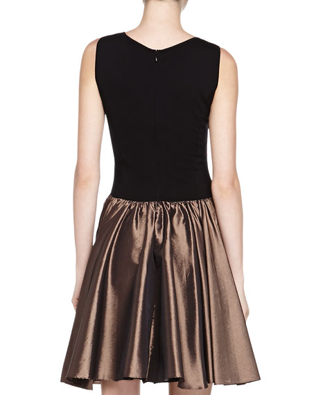 Ponte/Satin Combo Dress, Black/Pewter
