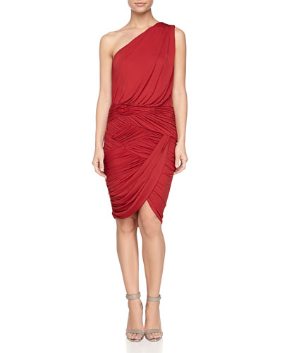 One-Shoulder Ruched Dress, Paprika