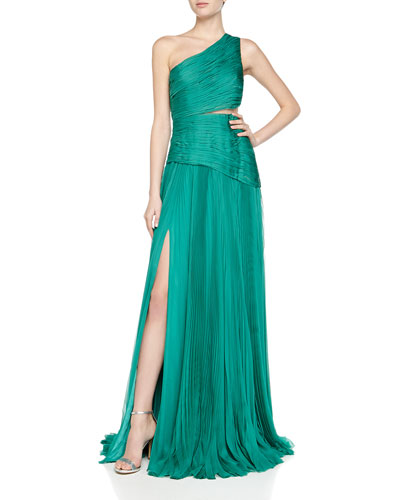 One-Shoulder Mousseline Pleated Gown, Cargo