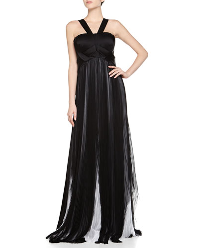 J Mendel Halter Chiffon Pleated Gown