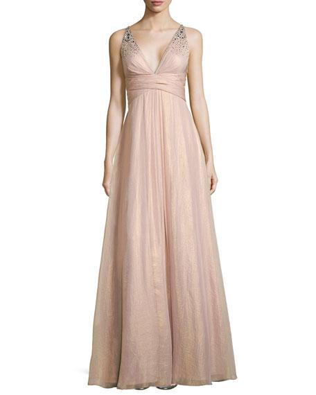 Beaded-Bodice Gown W/ Crisscross Back