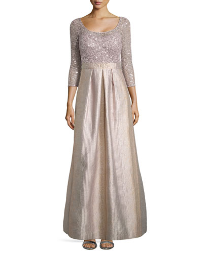 Scoop-Neck Ball Gown with Sequined Bodice