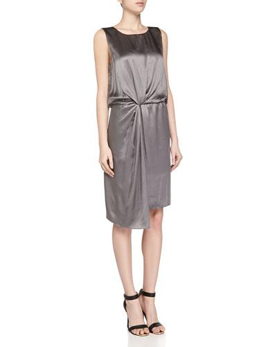 Front Twist Silk Tank Dress, Gray