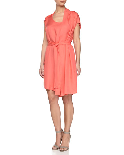 Self-Tie Waist Dress with Scarf, Guava