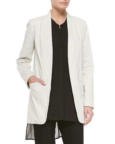 Eileen Fisher Long Polished Ramie Jacket, Petite
