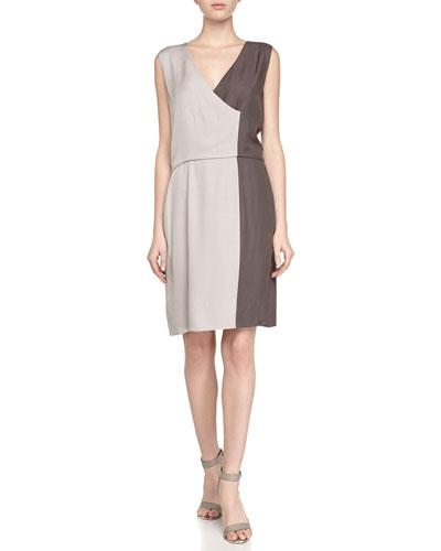 Sleeveless Colorblock Charmeuse Dress