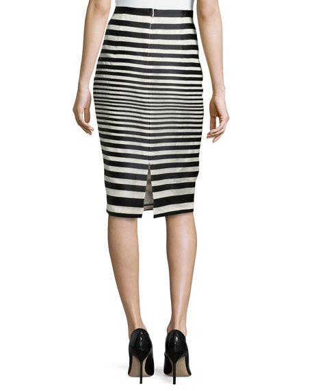 Striped Organza Pencil Skirt