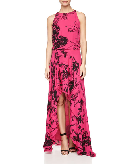 High-Neck Asymmetric-Hem Dress, Berry