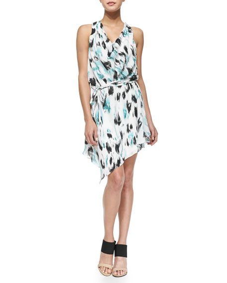 Haute Hippie Printed Cowl-Neck Silk Dress