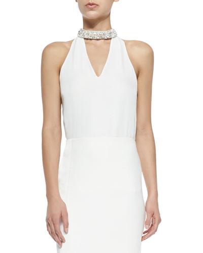 Sleeveless V-Neck Blouse W/ Embellished Collar