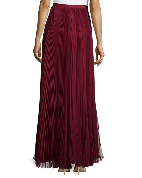 Pleated Maxi Skirt, Red