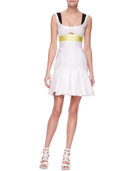 J. Mendel Paneled Colorblock Trumpet Dress