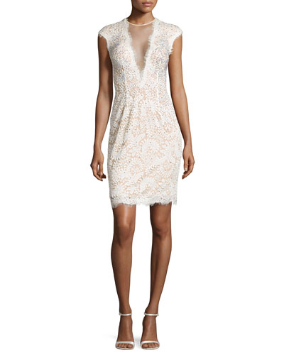 Deep V Illusion Beaded Cocktail Dress, Ivory