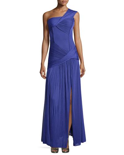Ruched One-Shoulder Gown, Violet