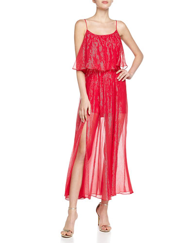Tiered Metallic Gown, Rose