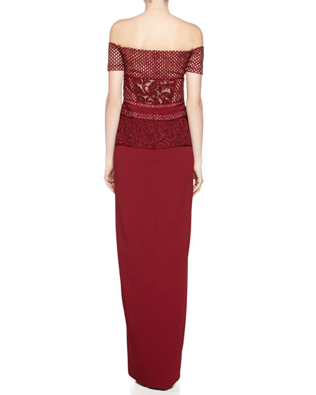 Lace-Top Off-Shoulder Gown