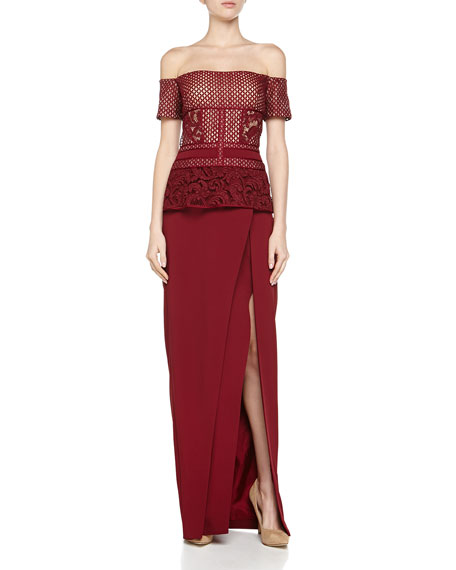 J. Mendel Lace-Top Off-Shoulder Gown
