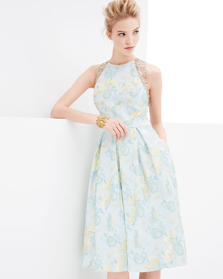 Jacquard Full-Skirt Cocktail Dress