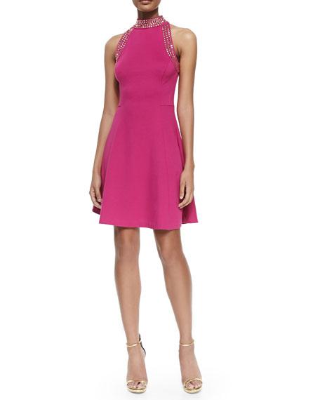 Sleeveless Fit & Flare Dress W/ Studs