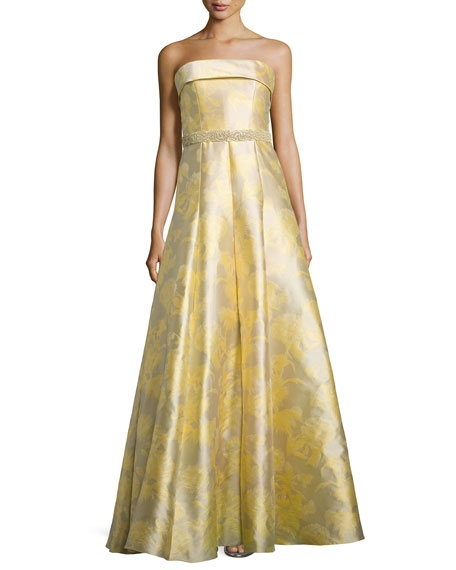 Carmen Marc Valvo Strapless Floral Printed Ball Gown