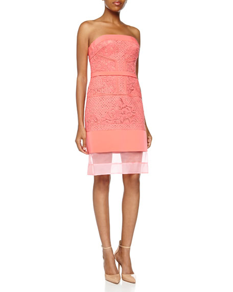 J. Mendel Graphic Lace Strapless Dress