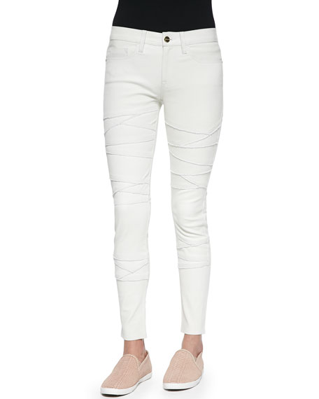 FRAME DENIM Le Leather Rip Skinny-Fit Jeans