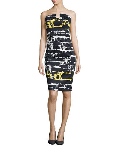 Lena Strapless Print Sheath Dress