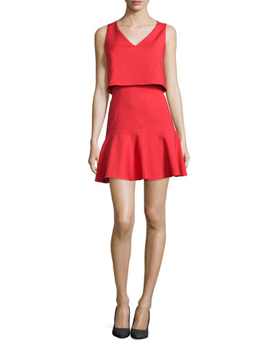 Shawna Crop-Top Dress with Flounce Skirt