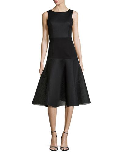 Vogue Bateau Fit-and-Flare Dress, Black