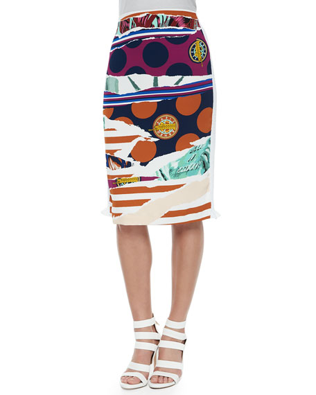 Kenzo Torn-Paper-Print Pencil Skirt