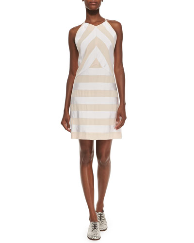Sleeveless Ribbon Dress W/ Solid Back