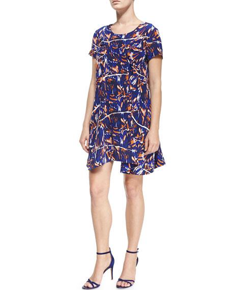Kenzo Short-Sleeve Torn Flowers-Print Dress
