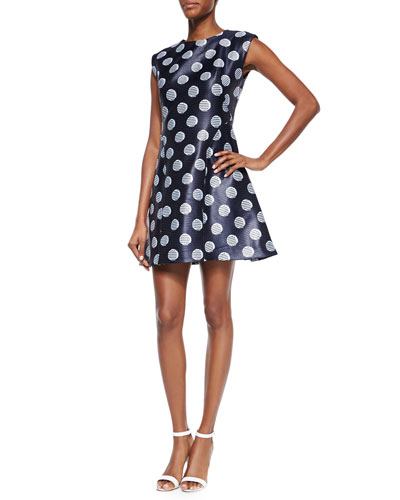 Dot-Jacquard Fit-and-Flare Dress