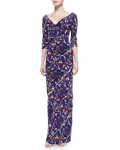 3/4-Sleeve Torn Flowers-Print Maxi Dress
