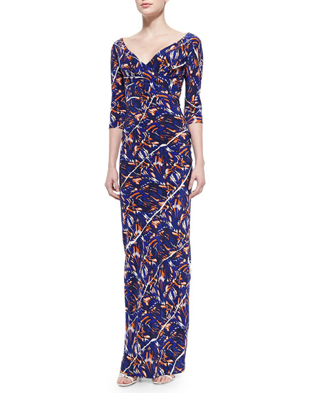 Kenzo 3/4-Sleeve Torn Flowers-Print Maxi Dress