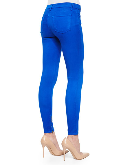 8428 Cropped Zip-Hem Skinny-Fit Jeans, Electric Blue