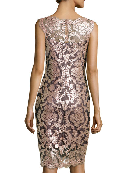 Metallic Lace Overlay Cocktail Sheath Dress, Antique Pink