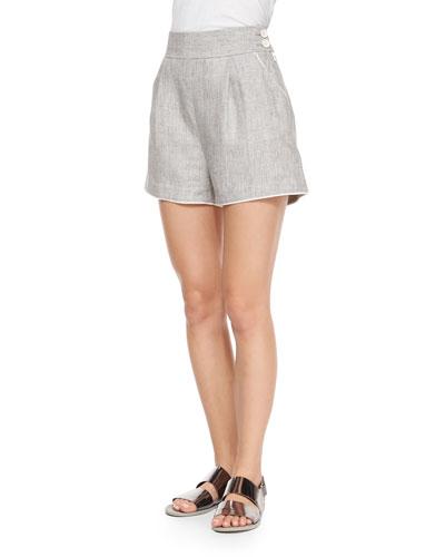 High-Waist Linen Delave Shorts