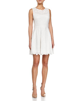 Fit-and-Flare Eyelet Dress