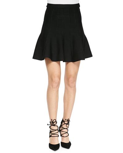 Herve Leger Sabine Flounce Knit Mini Skirt, Black