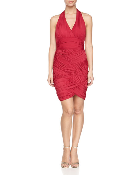 Halston Heritage Ruched One-Shoulder Stretch Dress, Raspberry