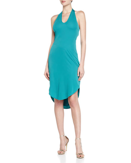 Halston Heritage Keyhole Halter Jersey Dress, Tropical Blue