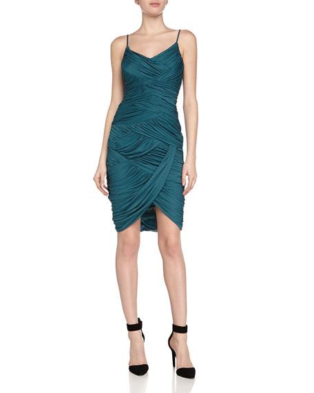 Halston Heritage Ruched Cami Dress, Dark Emerald