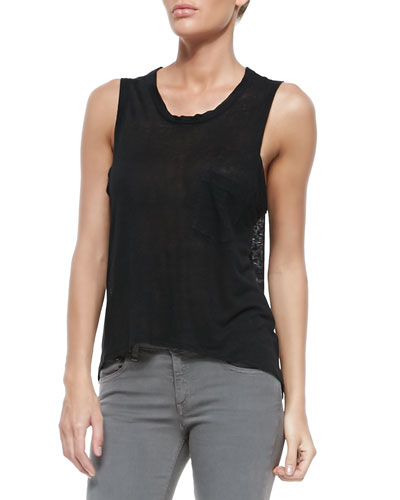 The Deal Slub-Knit Linen Pocket Tank