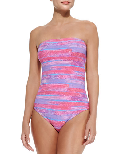Lily Strapless Striped One-Piece