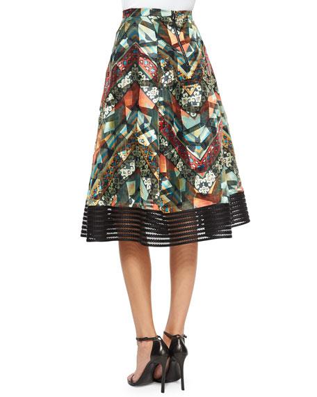 Tribal-Print Midi Ball Skirt