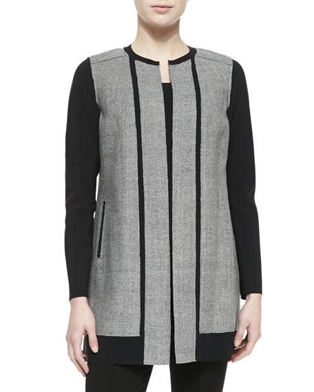 Melody Long Jewel-Neck Contrast Coat
