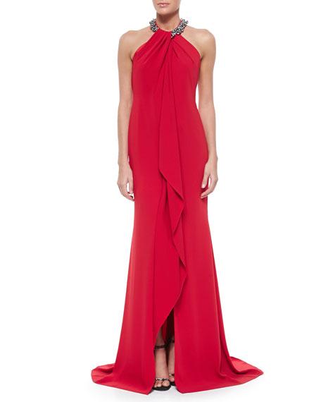 Carmen Marc ValvoBeaded-Neck Toga Gown, Red